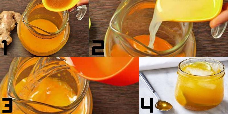 Pha nước ép nghệ với chanh và mật ong