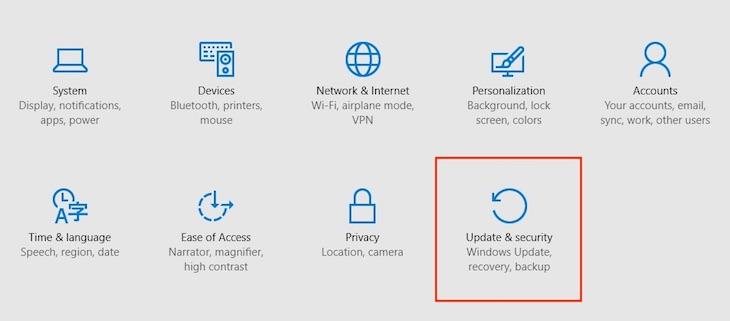 Nhấn chọn Update & security