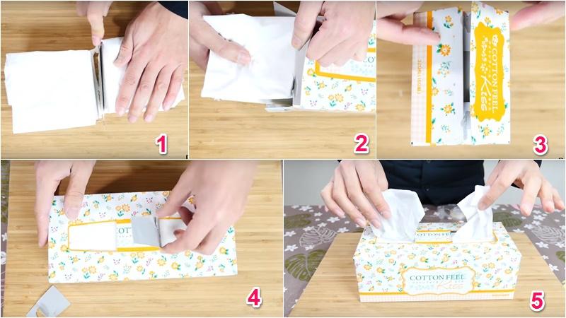 Cắt đôi tập khăn giấy và xử lý 1 chút hộp đựng để tạo thành 2 hộp khăn giấy tiện dụng