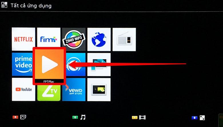 bước 1 vào kho ứng dụng FPT Play trên màn hình chính