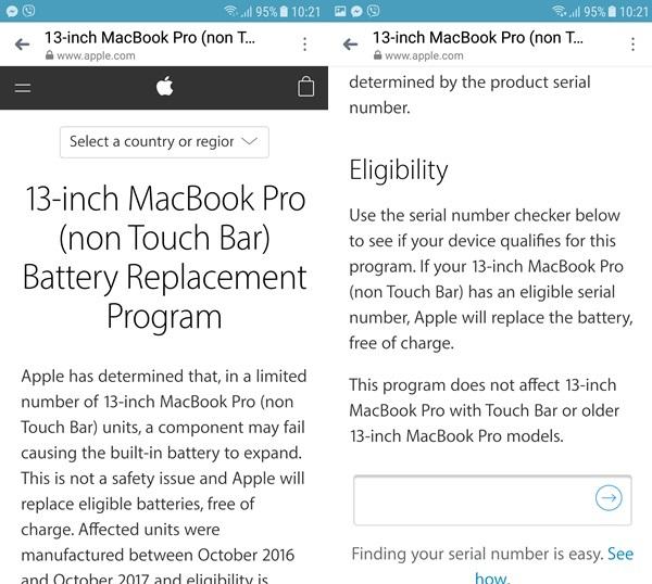 Ảnh chụp màn hình trang kiểm tra MacBook Pro có đủ điều kiện thay thế pin hay không