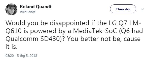 LG Q7 sẽ dùng chip MediaTek thay vì Snapdragon của Qualcomm