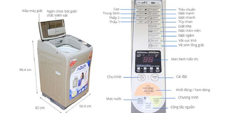 Hướng dẫn sử dụng các dòng máy giặt Aqua lồng đứng 2019