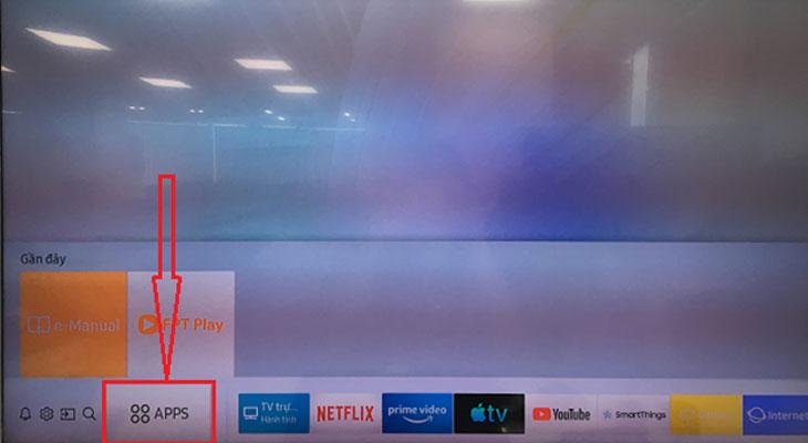 Kích hoạt gói xem phim miễn phí ClipTV trên Smart tivi Samsung - Chọn APP để mở kho ứng dụng