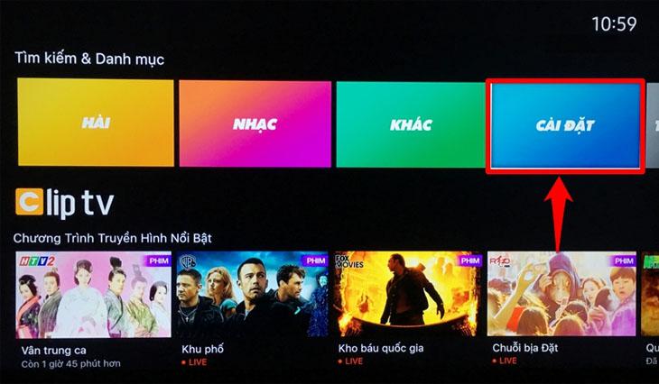 màn hình chính chọn cài đặt