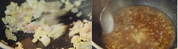 Làm nước sốt gừng rưới lên cải bẹ xanh cuộn thịt đã hấp chín