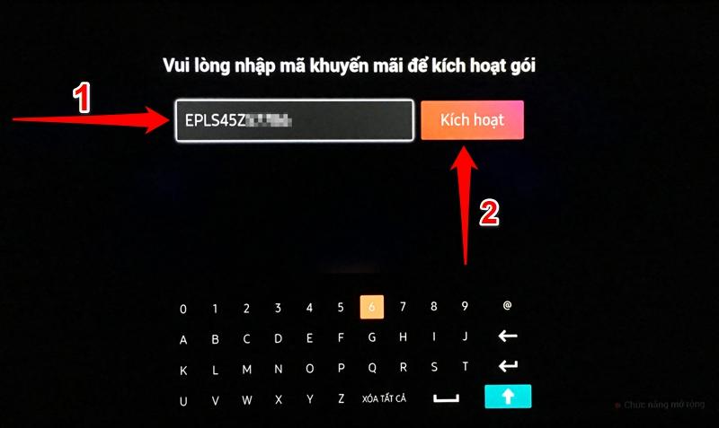Bước 9: Nhập mã code khuyến mãi vào để kích hoạt