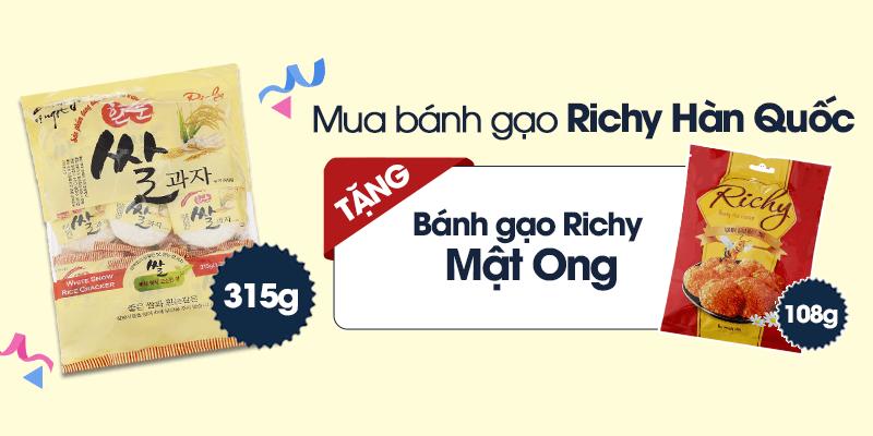 Mua 1 bịch bánh gạo Richy Hàn Quốc tặng 1 bịch bánh gạo Richy Mật Ong