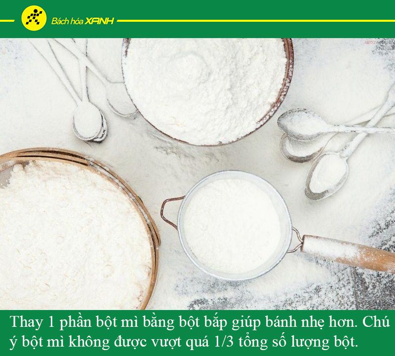Thay 1 phần bột mì bằng bột bắp giúp bánh mền