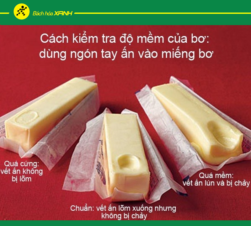 Kiểm tra bơ trước khi làm bánh