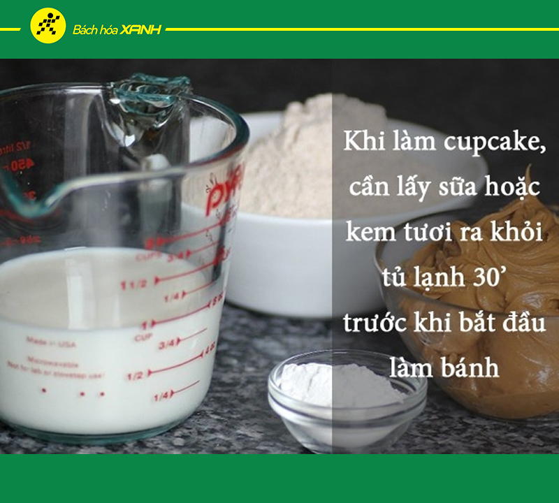 Lấy sữa hoặc kem tươi ra khỏi tủ lạnh trước 30 phút