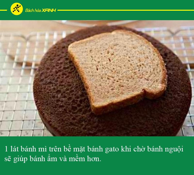 Đặt bánh mì lên trên bánh gato khi đợi bánh nguội