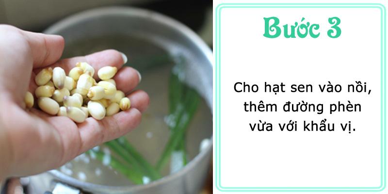 Cho hạt sen vào nồi, thêm đường phèn vừa với khẩu vị