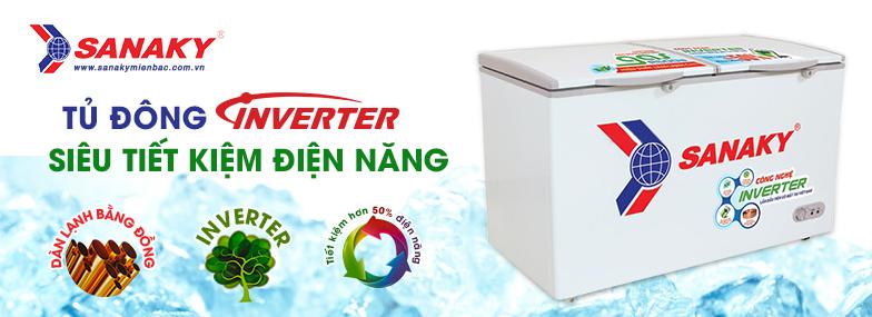 tủ đông có Inverter để máy hoạt động êm ái và tiết kiệm điện năng.