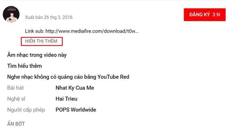 Tính năng Âm nhạc trong video này trên YouTube nền web