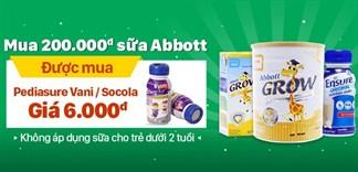 Mua 200.000đ sữa Abbott được mua chai Pediasure Vani/Socola giá 6.000đ