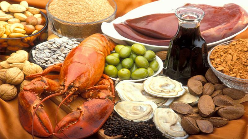 Kẽm có nhiều trong hải sản, đậu, thực vật, trái cây, các loại hạt