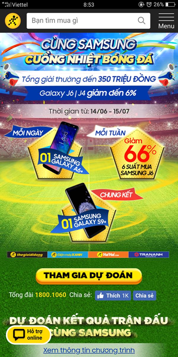 Hướng dẫn cách nhận miễn phí Galaxy A6+ mỗi ngày tại Thế Giới Di Động - ảnh 2