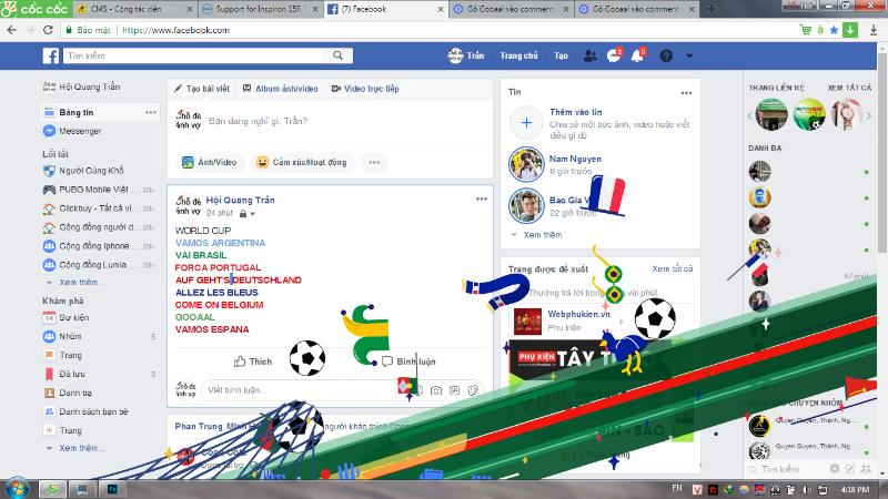 Hướng dẫn kích hoạt hiệu ứng World Cup trên Facebook