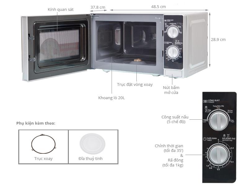 Lò vi sóng Sharp R-205VN(S) 20 lít