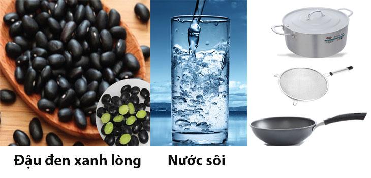 Nguyên liệu dụng cụ nấu nước đậu đen rang