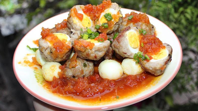 Xíu mại trứng cút sốt cà chua