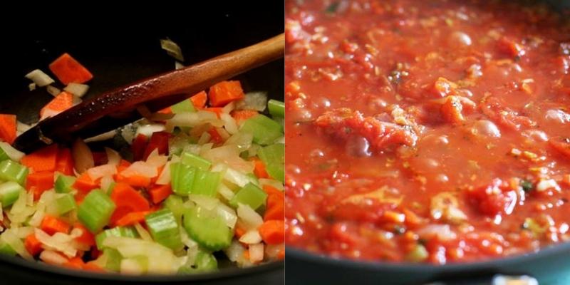 Dùng cả cà chua đóng hộp, thêm nước hầm xương vào khi làm sốt cà mang hương vị Âu Mỹ