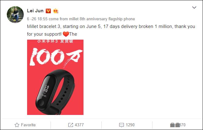 1 triệu chiếc Xiaomi Mi Band 3 đã bán sạch chỉ trong 17 ngày