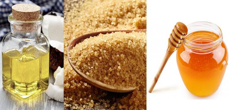 dầu dừa, đường nâu, mật ong để giữ môi hồng