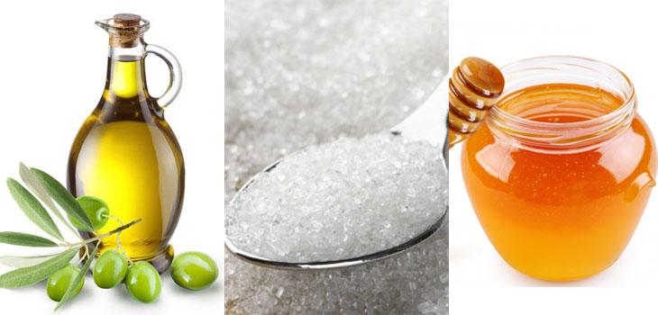 dầu olive, đường, mật ong để giữ môi hồng