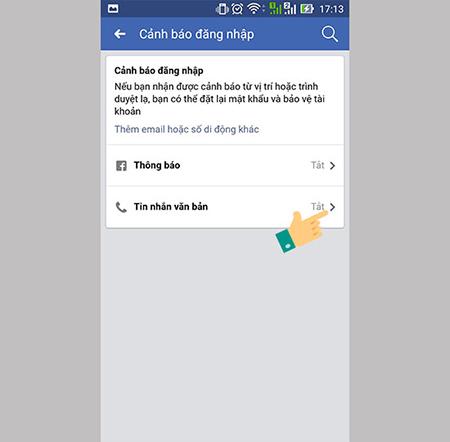 Cảnh báo đăng nhập- bước 2- chọn tin nhắn văn bản