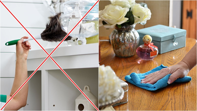 Khi làm sạch nhà cửa, để loại bỏ bụi bẩn, bạn không sử dụng chổi lông gà nên dùng khăn vải