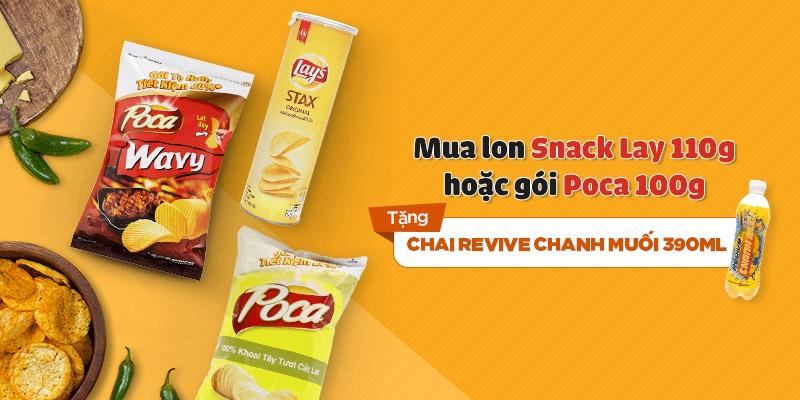 Mua 1 lon snack Lay 110g/Poca 100g tặng chai Revive chanh muối 390ml