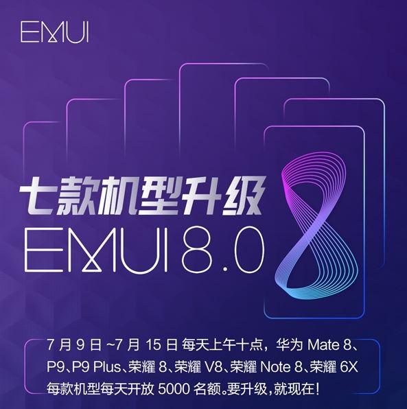 Huawei P9, P9 Plus, Huawei Honor 8, Huawei Mate 8, Honor Note 8, Honor V8 và Honor Play 6X cập nhật Android Oreo