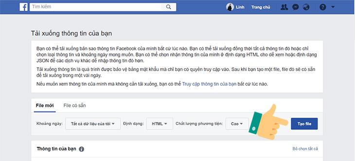Tải dữ liệu lưu trữ từ Facebook