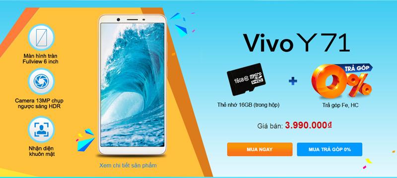 Vivo Y71 khuyến mãi Thế Giới Di Động