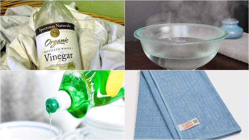 Chuẩn bị 1 bình xịt, 1 ít giấm ăn, nước nóng, nước rửa chén, khăn vải mềm khi làm sạch cửa sổ