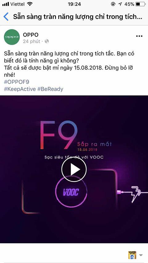 ngày ra mắt OPPO F9