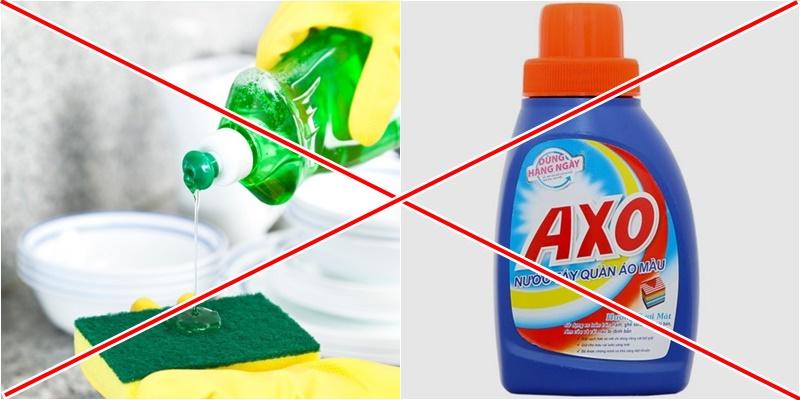 Trộn nước rửa chén với thuốc tẩy quần áo có thể tạo ra hóa chất độc hại nên tuyệt đối không trộn 2 chất tẩy này