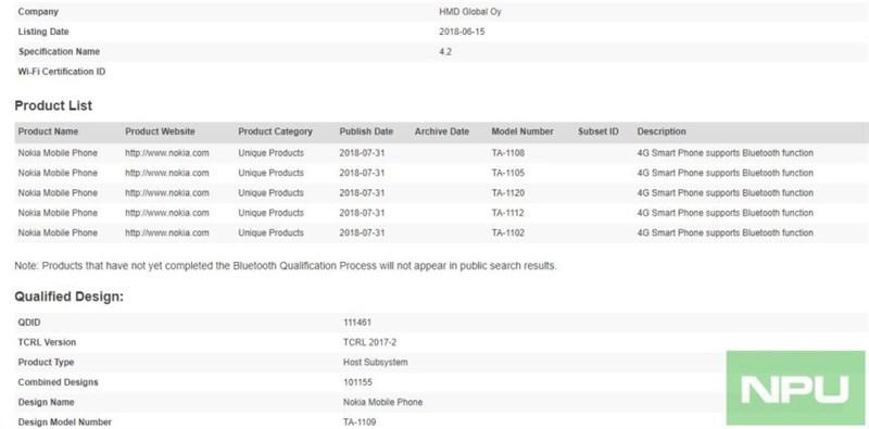 5 phiên bản Nokia 5.1 Plus đạt chứng nhận Bluetooth