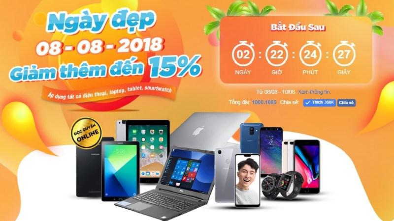 Ngày đẹp 08/08/2018: Ưu đãi khuyến mãi giảm giá lên tới 15%