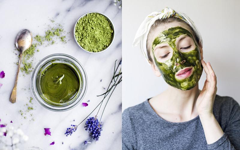 Bột trà xanh chứa nhiều vitamin, axit có lợi, chất diệp lục cùng các chất chống oxy hóa cực kỳ tốt cho làn da.