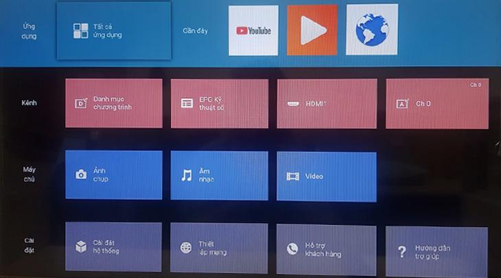 Giao diện tivi Sony