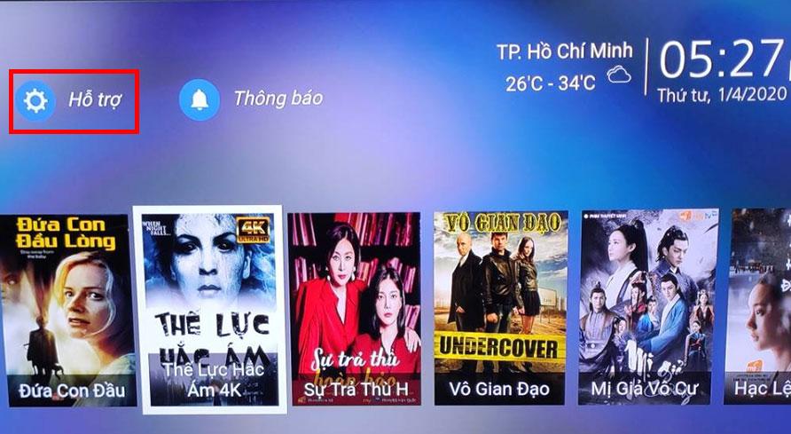 Cách nhận khuyến mãi ứng dụng MyTV trên tivi Samsung 2020 - chọn Hỗ Trợ