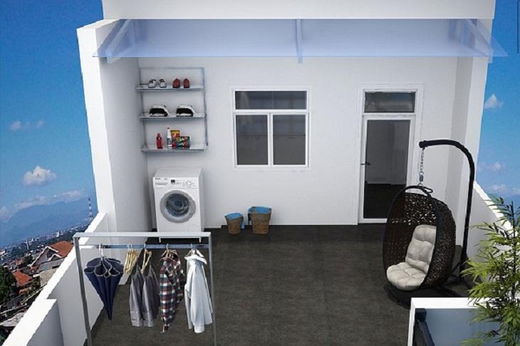 máy giặt để ngoài trời