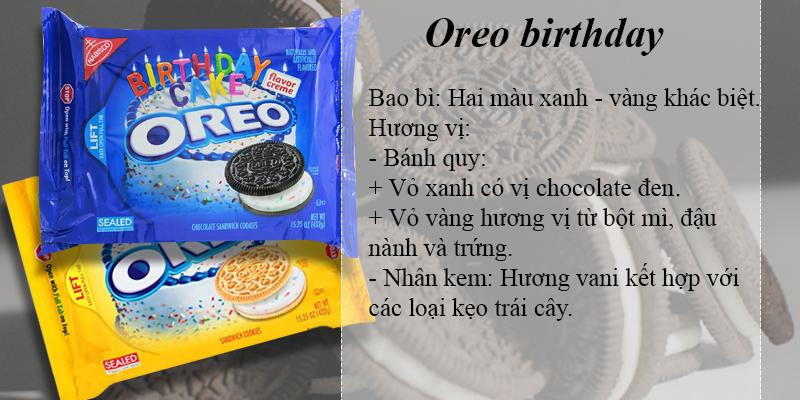 Oreo birthday với hương kem từ vani và kẹo trái cây thích thú