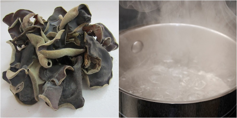 Ngâm mộc nhĩ khô trong nước nóng chất độc Morpholine chưa hòa tan hết vào nước
