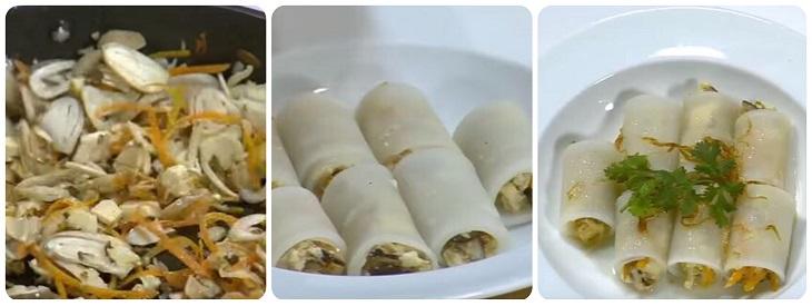 Củ cải cuộn nấm hấp chay- bước 2