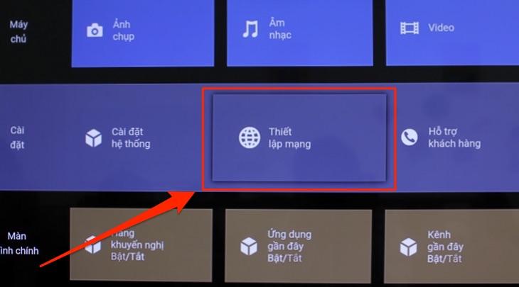 Giao diện chính của tivi Sony