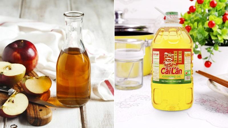 Hỗn hợp dầu ăn và giấm tẩy màu nhuộm và giúp tóc suôn mượt